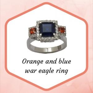 Orange and blue war eagle ring