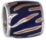 Orange Tiger Stripe Navy Background Bead