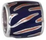 Orange Tiger Stripe Navy Background Bead