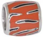 Navy Tiger Stripe Orange Background Bead