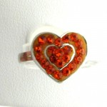 Orange Crystal Double Heart Ring