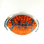 Orange and Blue Crystal Football Ring
