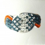 Orange Blue and White Crystal Ring