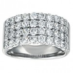 2.00ct Round Diamond Wedding Ring 4 Diamond Row in 14K White Gold