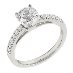 Engagement Ring featuring 12 Round Brilliant Diamonds with 0.17ctw in White Gold