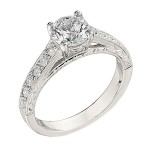 Engagement Ring featuring 16 Round Brilliant Diamonds with 0.23ctw in Yellow Gold