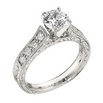 Engagement Ring featuring 8 Round Brilliant Diamonds with 0.24ctw in Yellow Gold