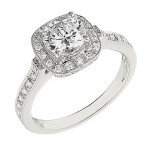Engagement Ring featuring 50 Round Brilliant Diamonds with 0.43ctw in Yellow Gold