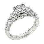 Engagement Ring featuring 64 Round Brilliant Diamonds with 0.72ctw in Yellow Gold