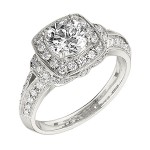 Engagement Ring featuring 56 Round Brilliant Diamonds with 0.62ctw in White Gold