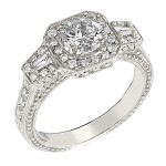 Engagement Ring featuring 58 Round Brilliant Diamonds with 0.60ctw in Yellow Gold