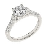 Engagement Ring featuring 38 Round Brilliant Diamonds with 0.40ctw in Yellow Gold
