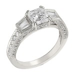 Engagement Ring featuring 62 Round Brilliant Diamonds with 0.60ct in White Gold