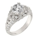 Engagement Ring featuring 62 Round Brilliant Diamonds with 0.50ctw in White Gold