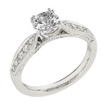 Engagement Ring featuring 10 Round Brilliant Diamonds with 0.24ctw in Yellow Gold