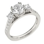 Engagement Ring featuring 10 Round Brilliant Diamonds with 0.57ctw in White Gold