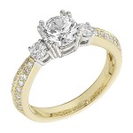 Engagement Ring featuring 34 Round Brilliant Diamonds with 0.51ctw in Yellow Gold