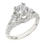 Engagement Ring featuring 34 Round Brilliant Diamonds with 0.52ctw in Yellow Gold