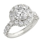 Engagement Ring featuring 32 Round Brilliant Diamonds with 1.60ctw in Yellow Gold