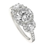 Engagement Ring featuring 36 Round Brilliant Diamonds with 1.05ctw in White Gold