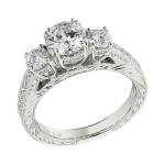 Engagement Ring featuring 26 Round Brilliant Diamonds with 0.27ctw in Yellow Gold