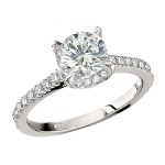 Engagement Ring featuring 56 Round Brilliant Diamonds with 0.43ctw in Yellow Gold