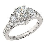 Engagement Ring featuring 30 Round Brilliant Diamonds with 0.89ctw in Yellow Gold