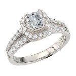 Engagement Ring featuring 64 Round Brilliant Diamonds with 0.65ctw in Yellow Gold