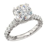 Engagement Ring featuring 14 Round Brilliant Diamonds with 0.96ctw in White Gold