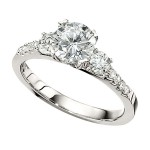 Engagement Ring featuring 10 Round Brilliant Diamonds with 0.50ctw in White Gold
