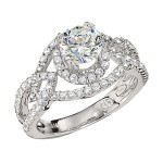Engagement Ring featuring 82 Round Brilliant Diamonds with 0.65ctw in White Gold