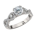 Engagement Ring featuring 46 Round Brilliant Diamonds with 0.44ctw in Yellow Gold