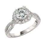 Engagement Ring featuring 62 Round Brilliant Diamonds with 0.56ctw in Yellow Gold