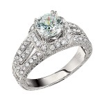 Engagement Ring featuring 50 Round Brilliant Diamonds with 0.51ctw in White Gold