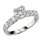 Engagement Ring featuring 6 Round Brilliant Diamonds with 0.70ctw in White Gold