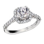 Engagement Ring featuring 8 Round Brilliant Diamonds with 0.48ctw in White Gold