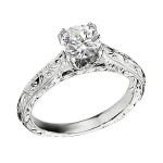Engagement Ring featuring 10 Round Brilliant Diamonds with 0.04ctw in White Gold