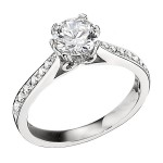 Engagement Ring featuring 16 Round Brilliant Diamonds with 0.17ctw in Yellow Gold