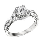 Engagement Ring featuring 64 Round Brilliant Diamonds with 0.57ctw in Yellow Gold