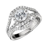 Engagement Ring featuring 78 Round Brilliant Diamonds with 0.93ctw in White Gold