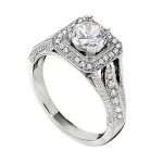Engagement Ring featuring 38 Round Brilliant Diamonds with 0.36ctw in Yellow Gold