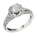 Engagement Ring featuring 70 Round Brilliant Diamonds with 0.50ctw in Yellow Gold