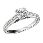 Engagement Ring featuring 20 Round Brilliant Diamonds with 0.16ctw in Yellow Gold