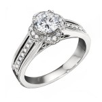 Engagement Ring featuring 56 Round Brilliant Diamonds with 0.31ctw in White Gold