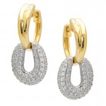 Diamond Two Tone Drop Earrings
