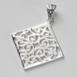 Sterling Silver Medium Diamond Scroll Pendant