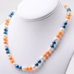 Orange Blue And White Pearl Strand