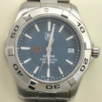 39mm Stainless Steel Watch with Blue Dial and Orange AU Logo