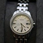 28mm Stainless Steel Watch with Swarovski Crystal Bezel and White AU Logo