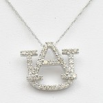 Large 14k White Gold Diamond AU Pendant